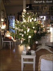 Christmas Tree 2010 iluminated only by the Winter sun! (Boxwoodcottage) Tags: christmas baby white black tree vintage silver hearts real shoes candles ornaments tophat fir satin 2010 boxwoodcottage