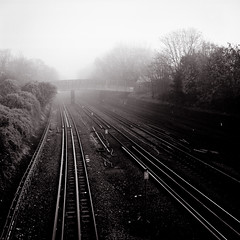 Misty Morning (kenny ip) Tags: morning mist london 120 6x6 film fog mediumformat blackwhite tube railway ealing norita norita66 80mmf2 noritar kennyip