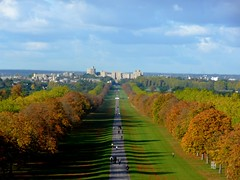 Windsor Castle (Tasmin_Bahia) Tags: blue trees sky people orange tree green castle grass leaves yellow clouds buildings walking day peace shadows walk peaceful windsor windsorcastle thelongwalk pwpartlycloudy