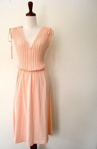 Peach Sorbet Plunging Shoulder Ties Dress, Vintage 70's