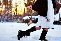 Velvet (Danielle Pearce) Tags: sunset orange snow black ski feet girl fire foot golden nikon boots bokeh air horns flake deer antlers hour d5000 reighndeer