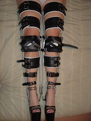 Double Buckled Braces with High Heeled Sandals (KAFOmaker) Tags: hinge leather fetish high braces lock sandals steel leg encased bondage thigh strap locks heel cuff harness ankle calf bound buckle locked brace restricted straps sandal cuffs joint strappy restraint restrain restrained encase cuffed strapped heeled braced strapping restrict buckled immobilize kneepad buckl
