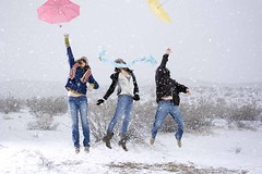 (lauralani) Tags: birthday white snow scarf jump jumping colorful desert surreal hidden gravity cerro bluejeans umbrellas ridgecrest coso lauradeangelis lauralani