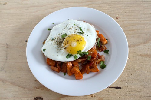 Sweet Potato Hash with a Fried Egg