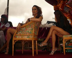 Edinburgh Fringe 2008: Ladyboys of Bangkok (chairmanblueslovakia) Tags: city people beautiful festival thailand high chair edinburgh long pretty sitting legs bangkok capital sunday scottish fringe thai sit heels wicker 2008 seated picnik transsexual ladyboys shemale cavalcade glamourous kathoey of