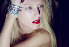 I come alive in the night time (Shandi-lee) Tags: red portrait selfportrait girl face closeup night dark nose eyes alone shadows hand arm longhair fair lips pale greeneyes bracelet redlips redlipstick wrist blondehair
