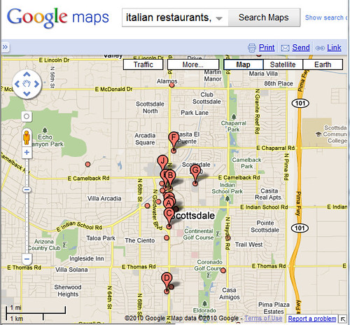 Italian Restaurants in Scottsdale, Arizona Map