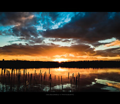 When My Dream Comes True (Marc Benslahdine) Tags: blue light sunset sky orange lake reflection clouds jaune landscape rouge soleil lumire lac bleu ciel silence contraste nuage pa