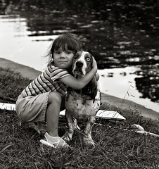 A Dog Named Blue (Anne Worner) Tags: blackandwhite dog girl river mono candid humour bassetthound wefi