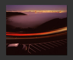 Dark, Foggy Night (RZ68) Tags: sanfrancisco city bridge blue light sunset cars fog skyline buildings mediumformat lights golden gate san francisco long exposure marin foggy trails velvia goldengatebridge hour goldengate headlands after 6x7 streaks provia ggnra ggb e100 conzelman rz68