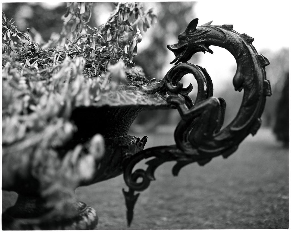 dragon sculpture on a planter