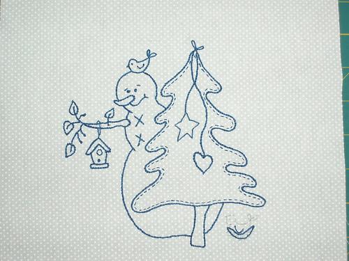 Snowman stitchery front