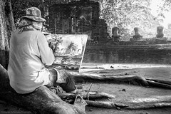 Ayutthaya, Thailand Jan 9 2016 : The atrist is drawing the picture at Wat Mahathat Temple. (nattapan.suwansukho) Tags: art artist artists autumn canvas colored craft crayon creativity drawing hobbies illustration image landscape leaf occupation one paint painted painter painting pastel people person product sketching ancient angkor ayuthaya ayutthaya bagan bangkok bayon buddha buddhism building mahathat meditation monk myanmar old pagoda prabang praying roots ruins