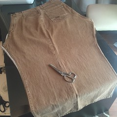 Denim Faux Shearling Vest - In Progress (nosmallfeet) Tags: sewing refashions vests jackets