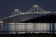 Newport Bridge Night 03 (dcrouse087) Tags: newport ri rhodeisland 401 nighttime night longexposure water reflection newportbridge pell bay