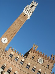 The beautiful blue skies of Tuscany, Italy (amazing_tina) Tags: italy brown beautiful florence italia clocktower tuscany blueskies slantedpicture