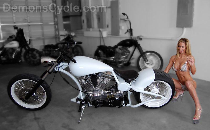 prostreet white 300 custom harley motorcycle mammoth wheels hot chick bikini girl 1