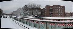 Morris Park Station Pano (vincenzosi) Tags: park nyc snow subway raw bronx esplanade morris paulding 2011