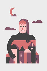 Goodnight (Trevor Basset) Tags: city moon guy illustration clouds design town sleepy goodnight tonycecomsellillustrationsvectorsphotos