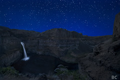 Palouse Falls Night (Ben Canales) Tags: longexposure water night river dark stars landscape star waterfall washington twilight nikon desert canyon falls trail galaxy starry cosmos palouse palousefalls palousefallsstatepark sewashington d3x noctography waterfallatnight bencanales thestartrailcom