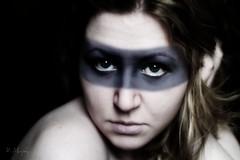 I walk the streets and camouflage my identity...2 (KelMurphyPhoto) Tags: portrait selfportrait girl dark hair eyes paint mask stripe sp