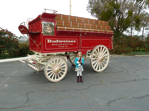 My daughter Alice in front of the wagon