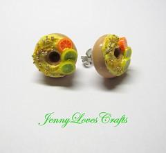 Citrus Doughnut stud earrings (JennyLovesCrafts) Tags: food miniatures fake jewelry polymerclay doughnut kawaii sweets earrings charms clayfood