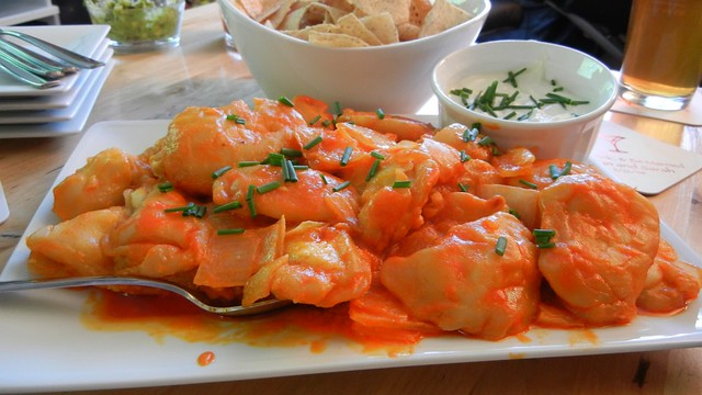 Blue Cheese Pierogies with Buffalo Sauce