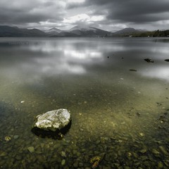 A Rock in The Loch! (Samantha Nicol Art Photography) Tags: snow art water rock clouds square scotland long exposure pebbles hills loch samantha toned lomond hdr nicol balmaha