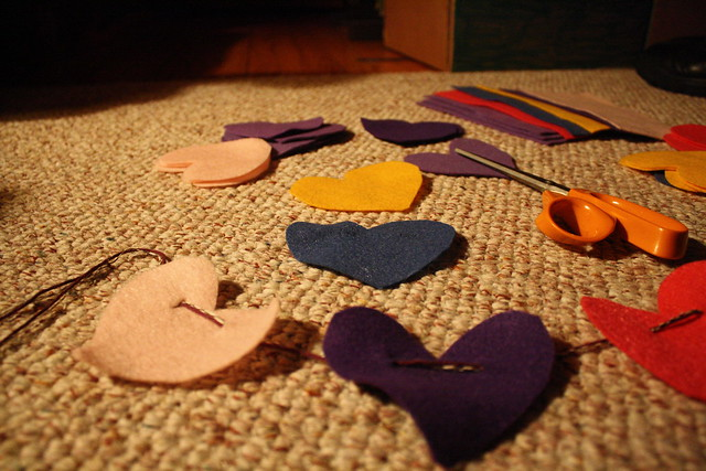 heart garlands in the making