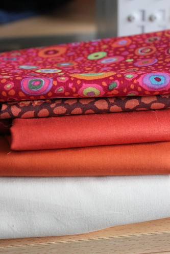 Fabric selections for two Kaffe Fassett quilts