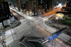 The cross car light trails (Shin-Nagoya) Tags: longexposure japan lowlight asia crossing x nagoya intersection nightview nightphoto aichi afterdark citynight lighttrail lightstream urbannight localstreet carlighttrail nightcityscape afsnikkor2470mmf28g