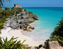 Beach with Tulum ruins in the background, Mexico