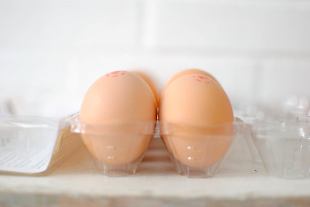 eggs still in the carton.