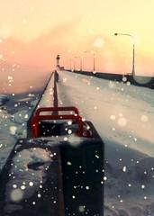 cameraphone winter lighthouse snow sunrise harbor pier... (Photo: Emily Bemily on Flickr)