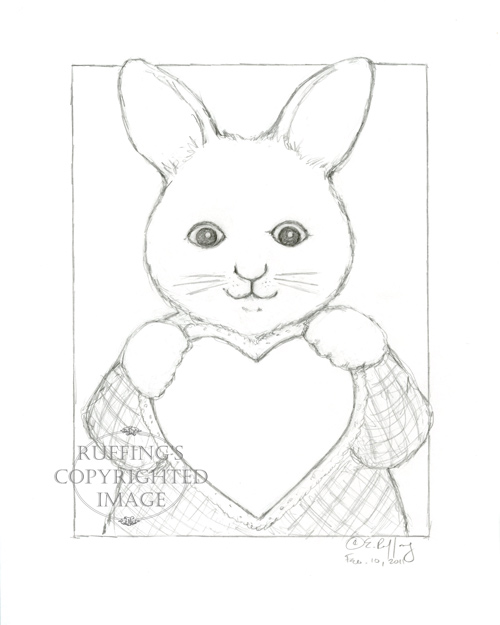 Bunny rabbit with heart, pencil drawing by Elizabeth Ruffing