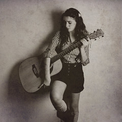Week 6  a girl and her guitar [explored] (Ana Lusa Pinto [Luminous Photography]) Tags: blackandwhite bw girl monochrome sepia guitar country explore week shorts weeks plaid pretoebranco 52 652 explored 52w