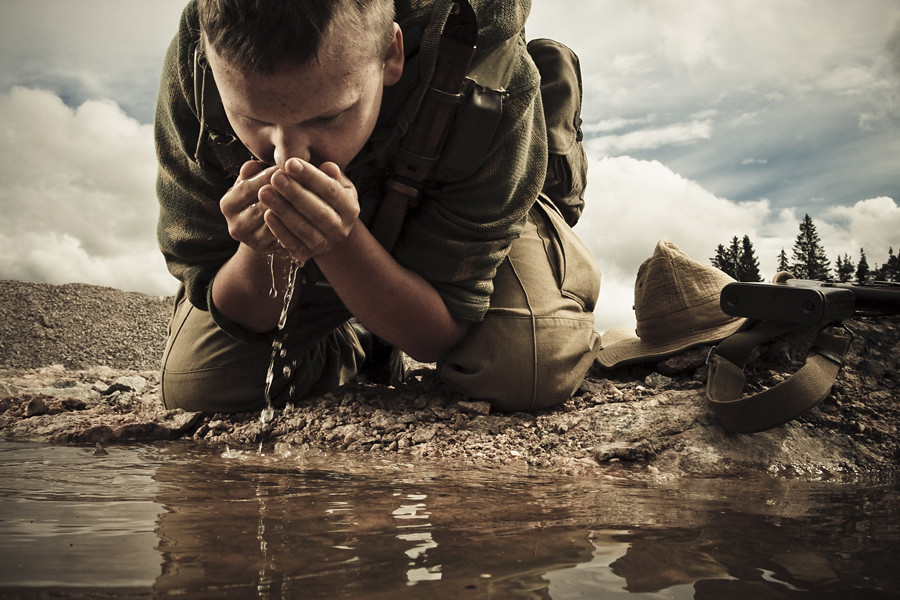 Image result for soldier drinking water