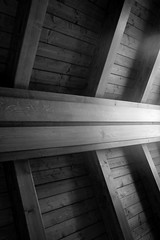 Abstract 170211 (L A Cooley) Tags: wood light shadow blackandwhite bw italy abstract rome roma reflection art lines stairs canon eos 350d wooden italia gallery shine columns steps shapes ceiling rails straight dslr astratto railings beams biancoenero albano beamed crossbeams