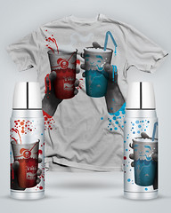 Closer (YONIL.com) Tags: blue red hot cold cup illustration design cool warm good bad tshirt threadless tee thermos yonil