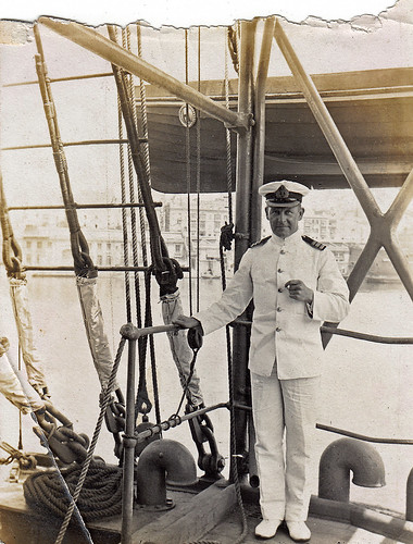 Royal navy officer on an unidentified ship