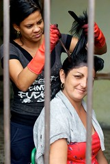 Cinfuegos, Cuba. (Franciscus51) Tags: ladies vacation holiday haircut black colors female hair bars colours arms faces cuba rubber brush gloves females rubbergloves dye comb cienfuegos marigolds stylists blackdye