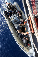 Sailors board a rigid-hull inflatable to conduct counter-piracy operations. (Official U.S. Navy Imagery) Tags: pirates navy sailor usnavy guidedmissilecruiser gulfofaden usssanjacintocg56 ctf151