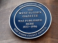 Photo of West Sussex Gazette blue plaque