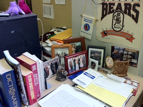 Dan's desk: Family and the Bears.