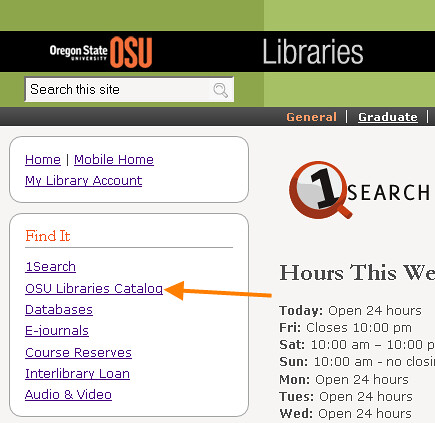Screenshot of the OSU Libraries homepage with the OSU Libraries Catalog link highlighted on the left side of the page