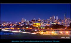 Spectacular San Francisco Famous Downtown Landmarks Cityscape (davidyuweb) Tags: sanfrancisco california bridge blue usa spectacular bay twilight san francisco downtown cityscape famous fine arts landmarks palace transamerica moment coit sfbay sfist towner