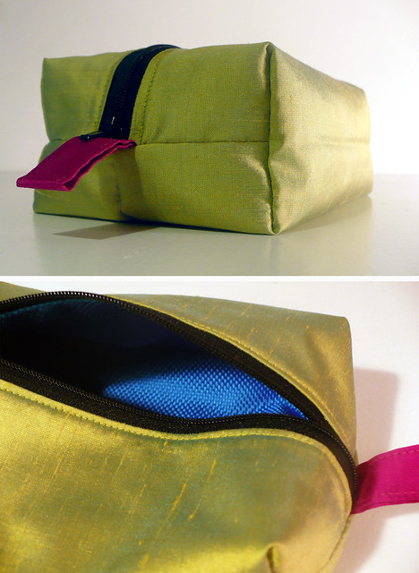 Colour block box pouch