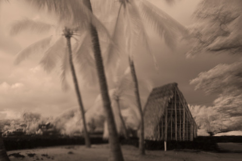 Tiki temple at the Place of Refuge, Kona, Big Island, Hawaii, sepia toned fine art portrait, dream like