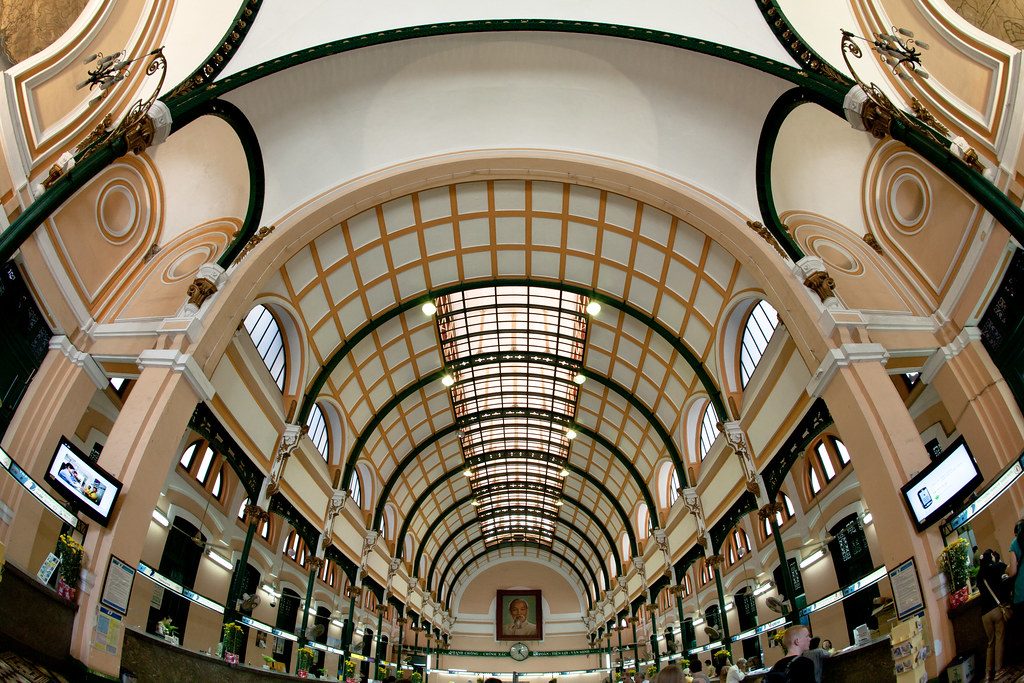 fisheye image of the buu dien post office in ho chi minh city saigon, vietnam